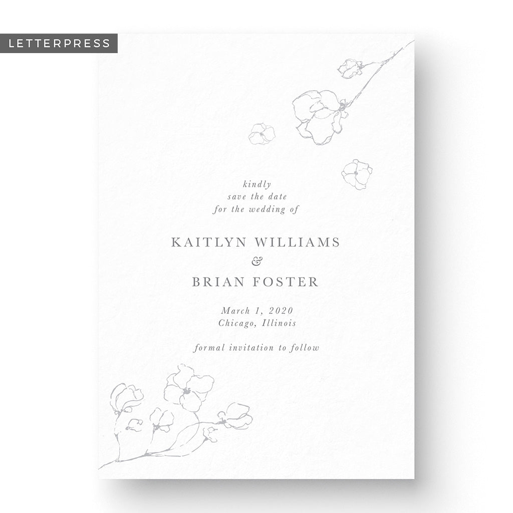 Kaitlyn Letterpress Save The Date