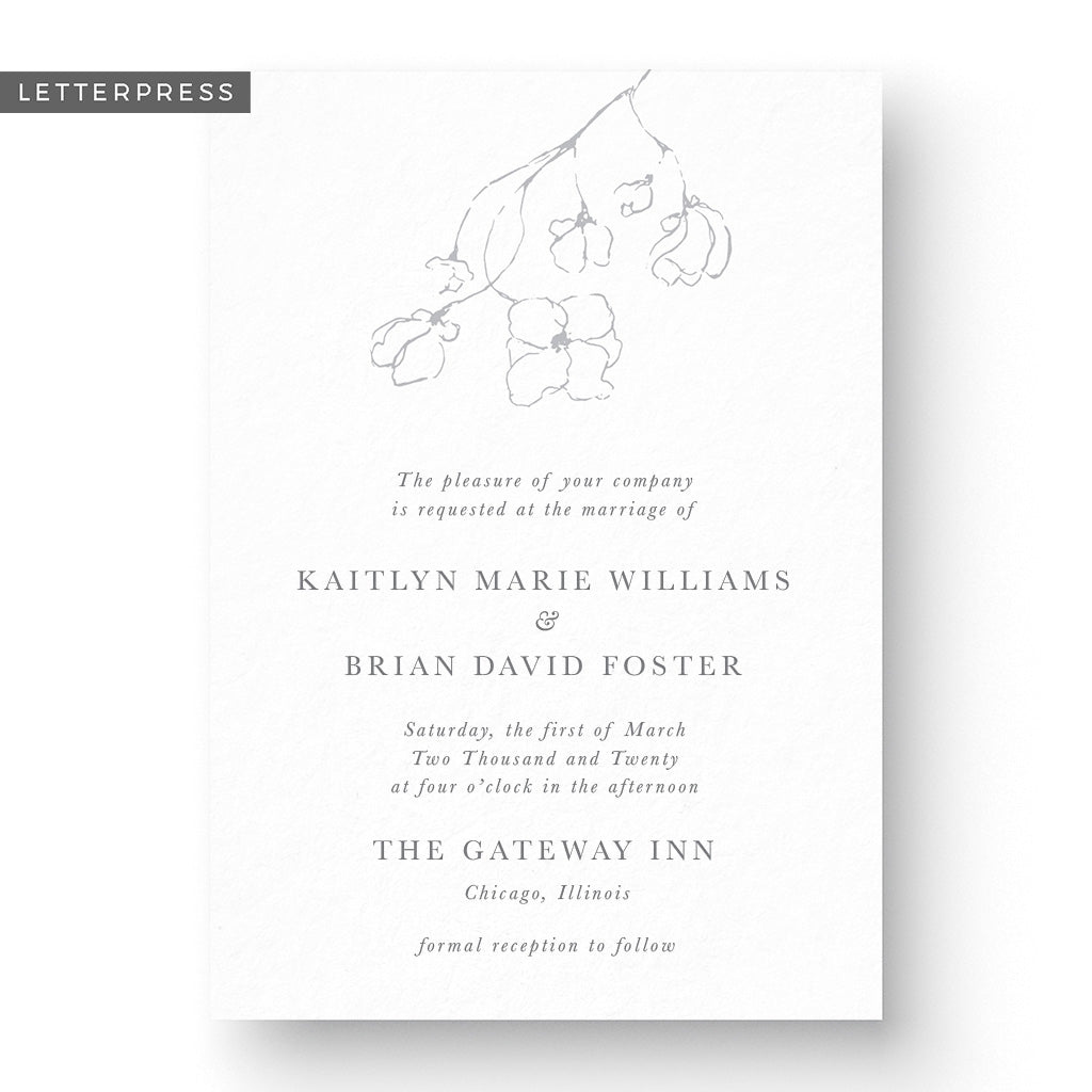 Kaitlyn Letterpress Wedding Invitation