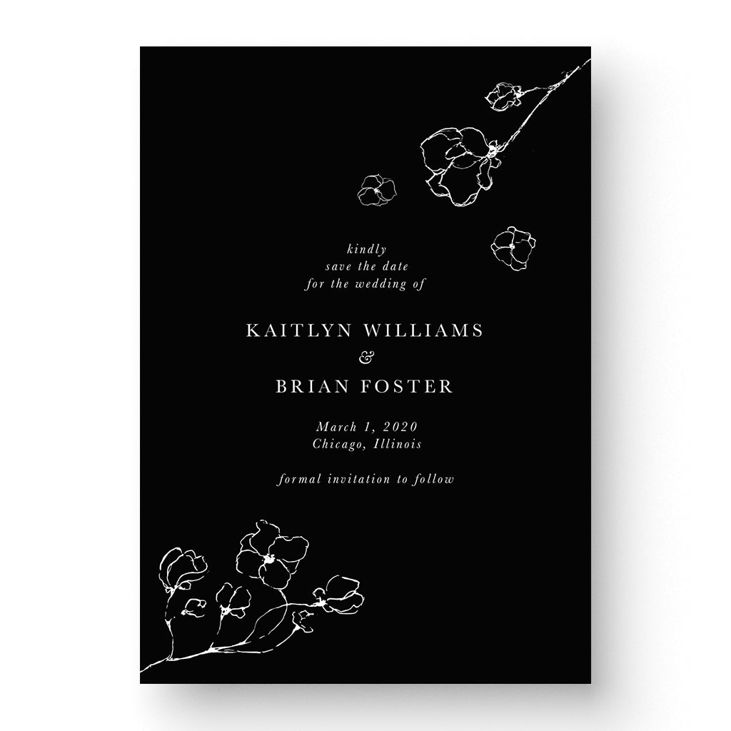 floral, black and white save the date card