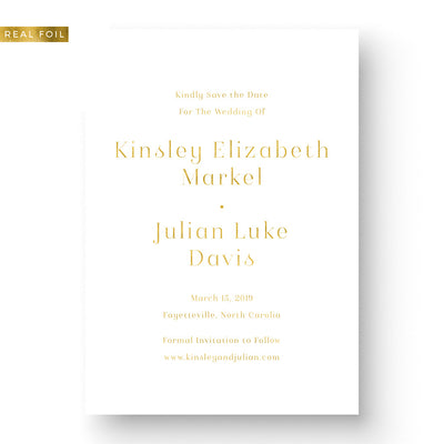 Modern Gold Foil Save the Date Minimal