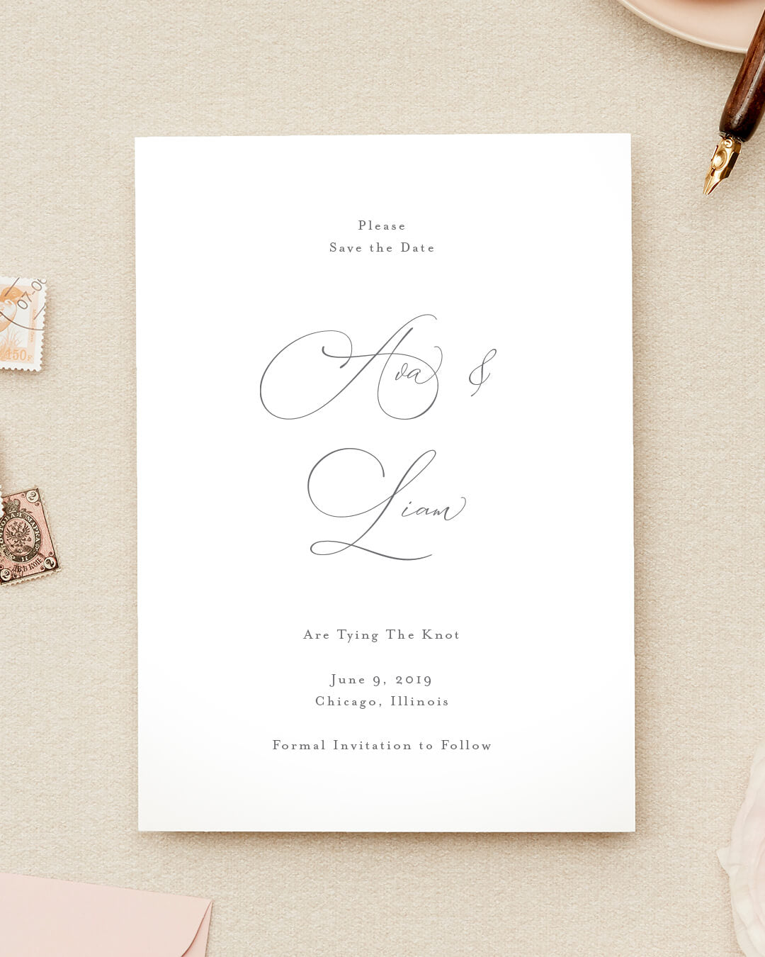 Formal Save The Date Card | The Ava
