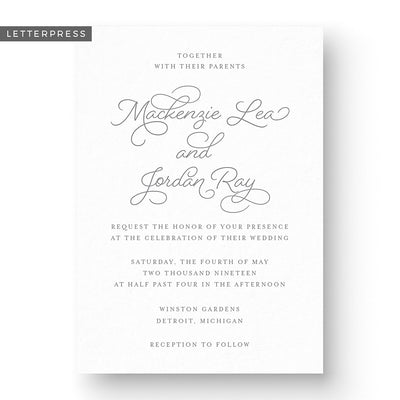 Mackenzie Letterpress Wedding Invitation