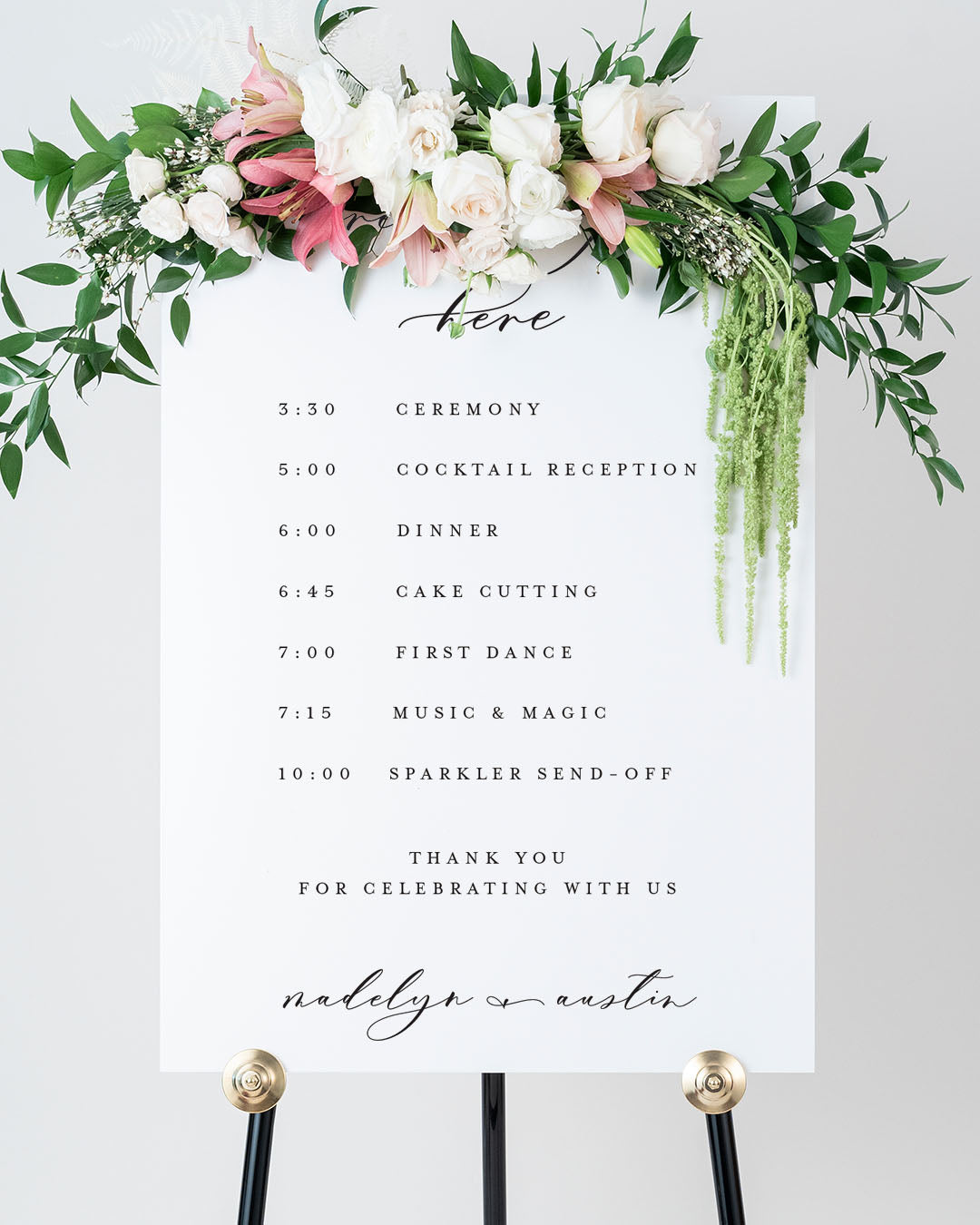 Order Of Events Wedding Sign | The Madelyn