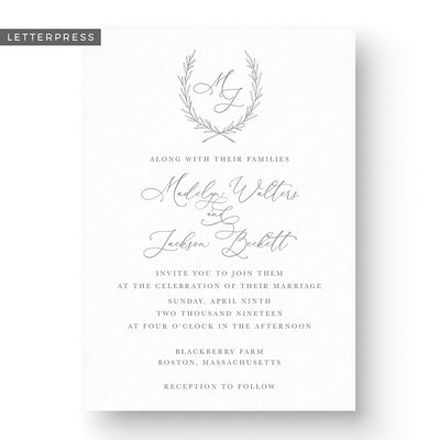 Madelyn Letterpress Wedding Invitation