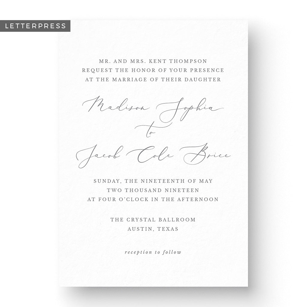 Madison Letterpress Wedding Invitation