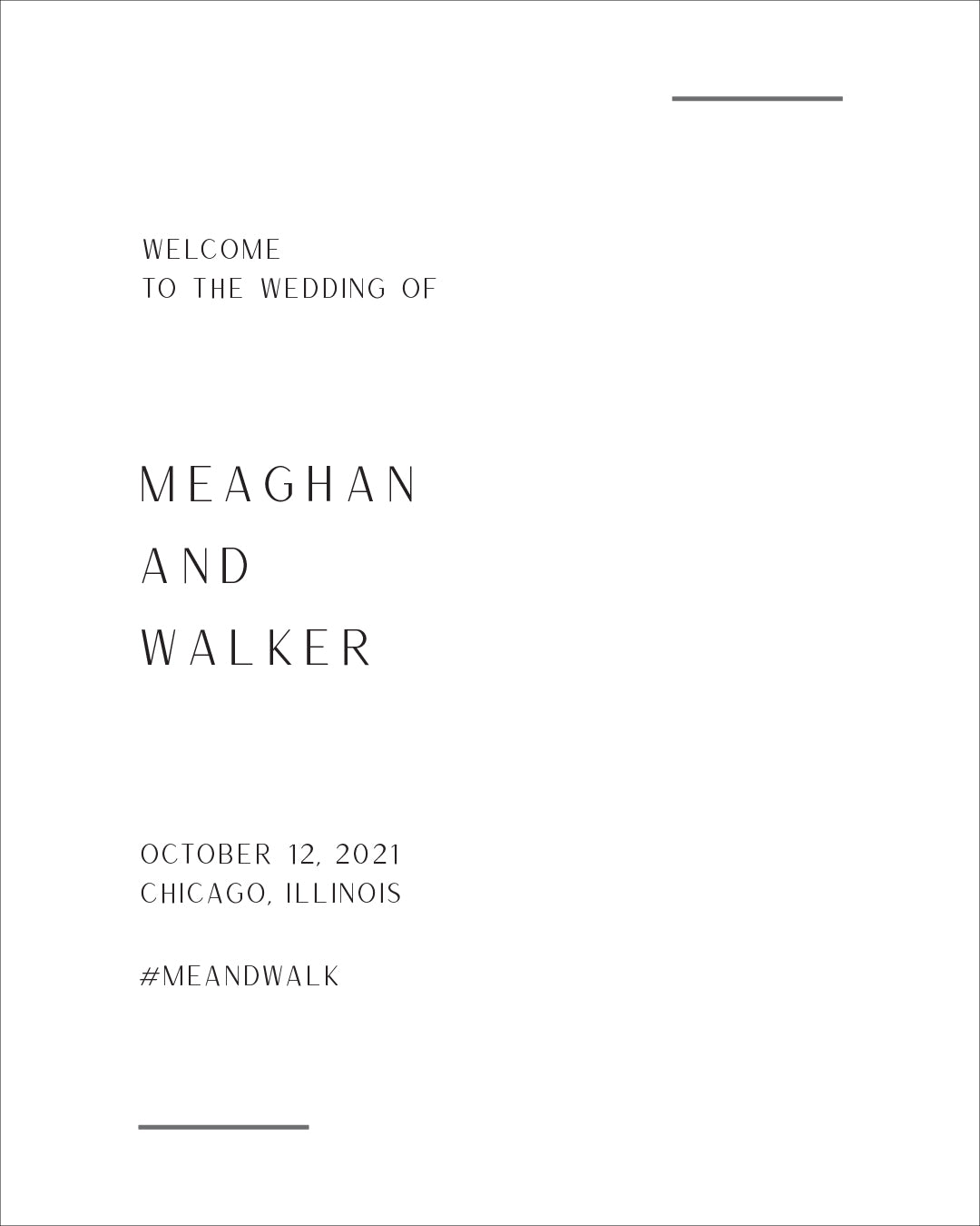 Modern Wedding Welcome Sign | The Meaghan