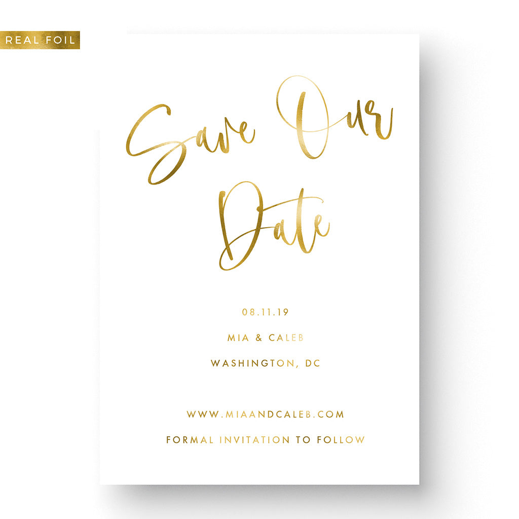 hand lettered save the date with gold foil boho
