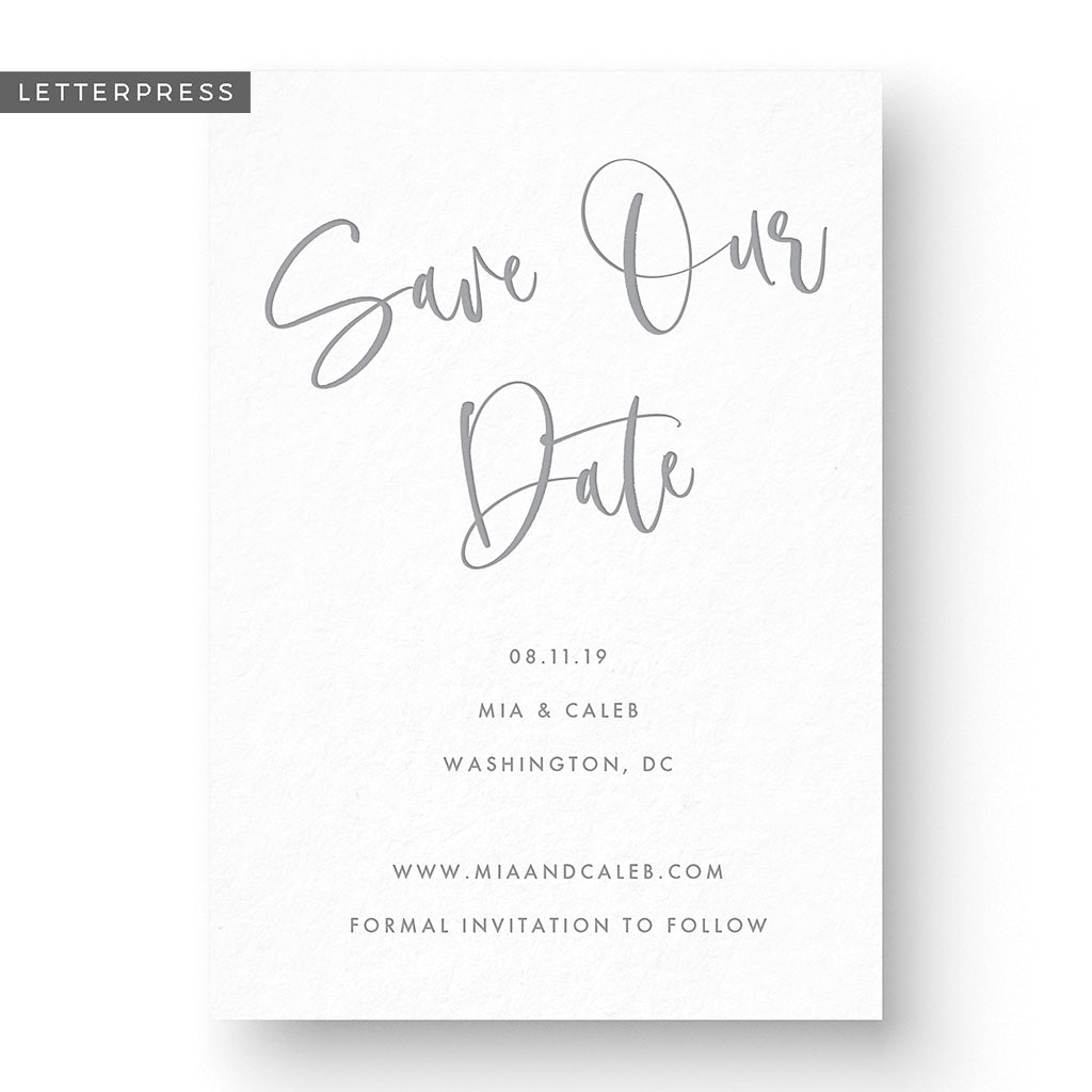 modern boho letterpress calligraphy save the date design