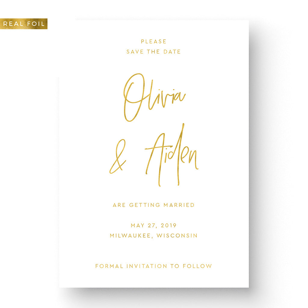 rose gold save the date modern