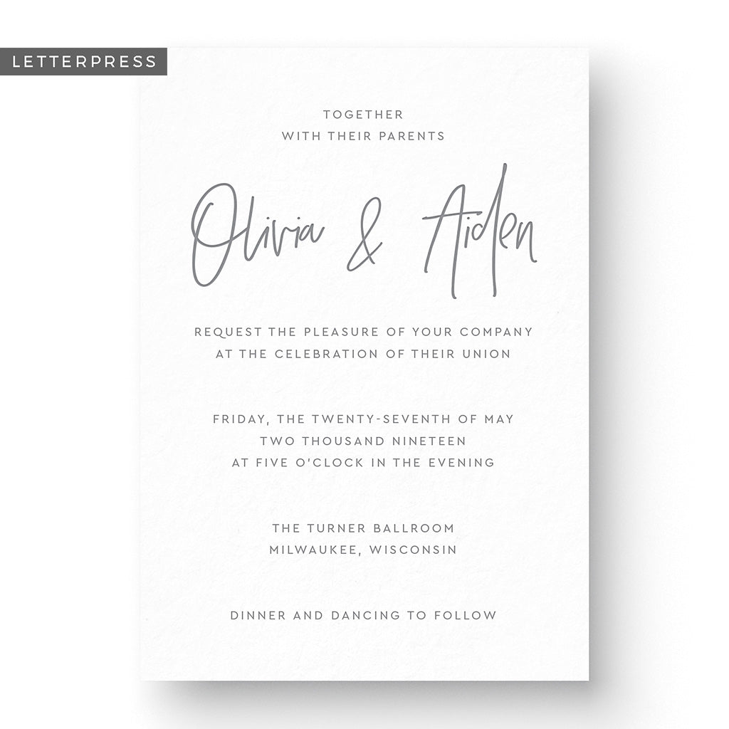 Olivia Letterpress Wedding Invitation