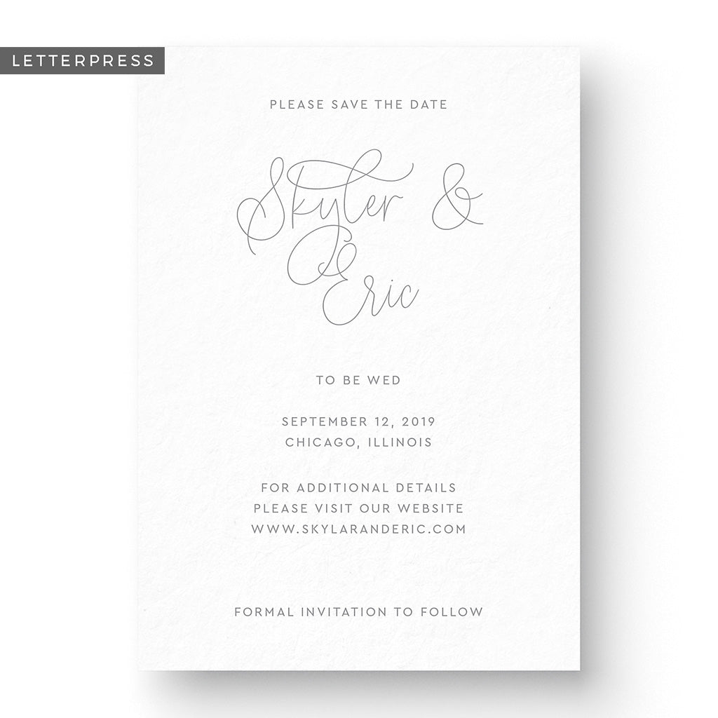 Classic Letterpress Save the Date Card