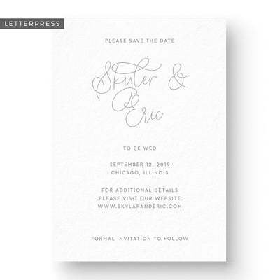 classy letterpress save the date card