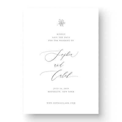 elegant wedding save the date with floral and calligraphy