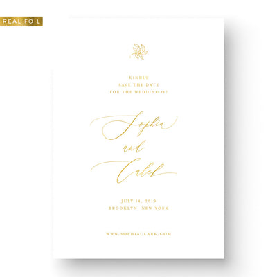 Elegant Foil Wedding Save the Date with floral and calligraphy