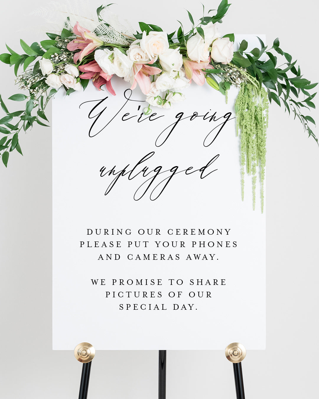 Welcome To Our Unplugged Wedding Sign | The Sophia
