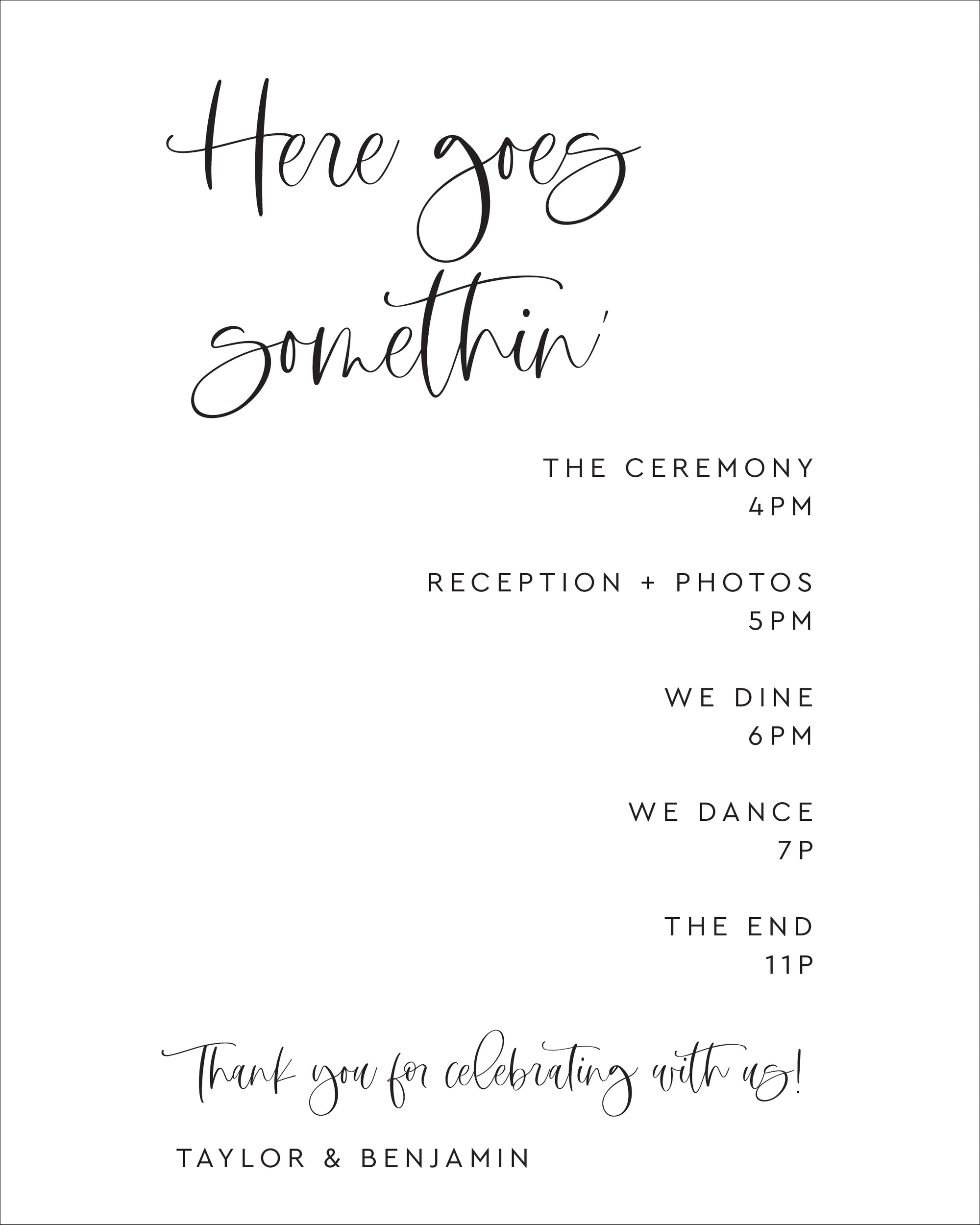 Modern Order Of Events Wedding Poster | The Taylor