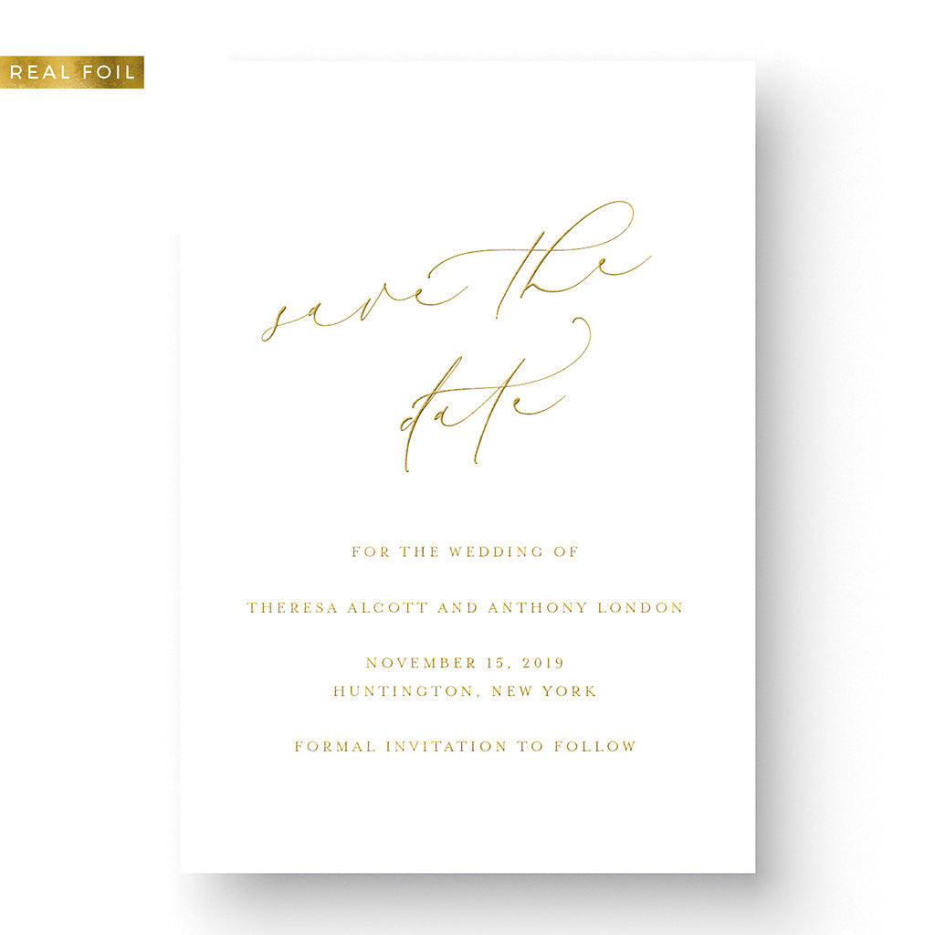 Elegant Gold Foil Save the Date with calligraphy and gold foil