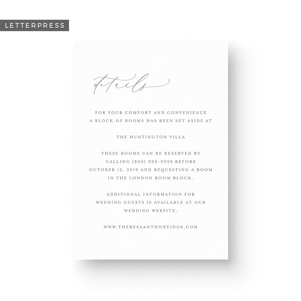 Theresa Letterpress Details Card