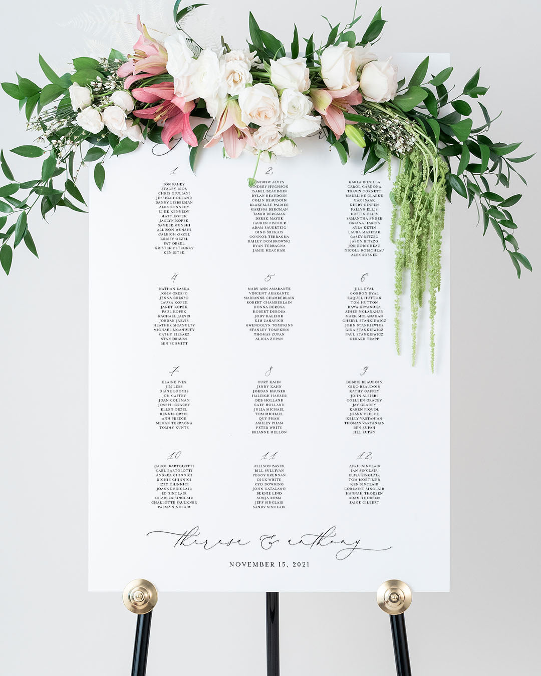 Seating Arrangement Wedding Reception Sign | The Theresa