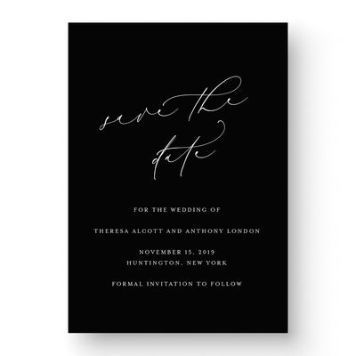 Elegant Black and White Save the Date with calligraphy on black paper