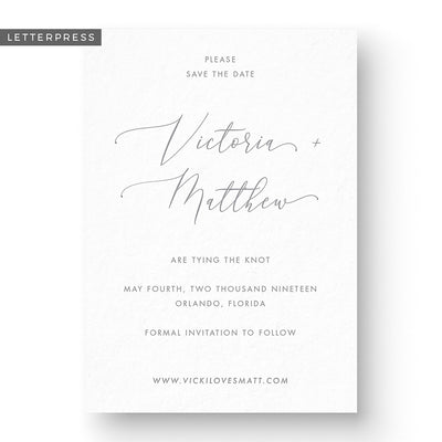 minimalist modern classic save the date card