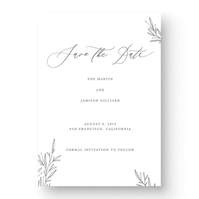 calligraphy Wedding Save the date with greenery