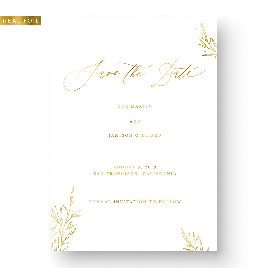 calligraphy foil save the date