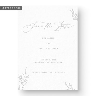 Letterpress Wedding Save the Date floral calligraphy