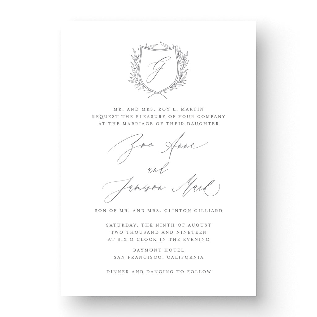 Calligraphy crest classic timeless wedding invitation