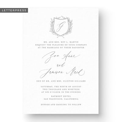 Zoe Letterpress Wedding Invitation