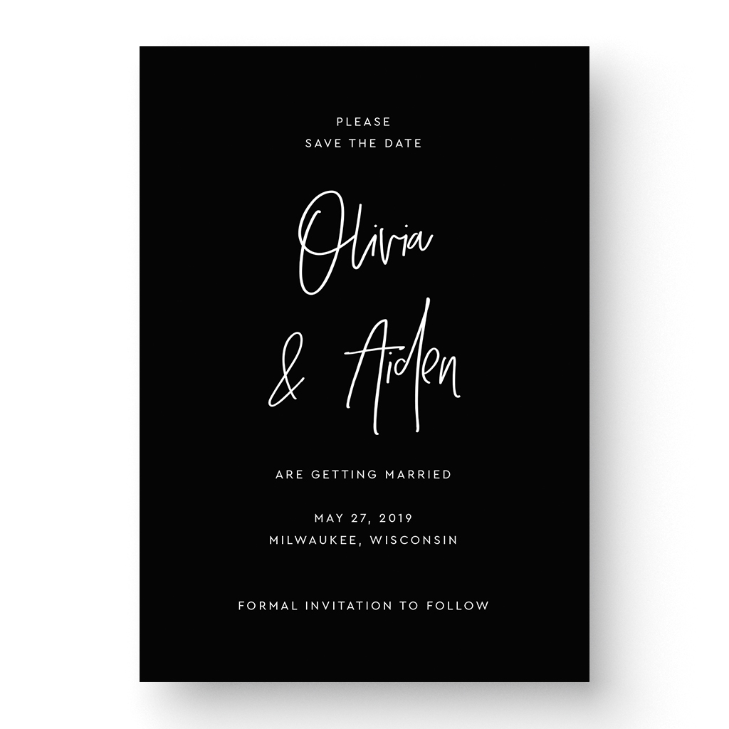Boho White Ink Save the Date Card