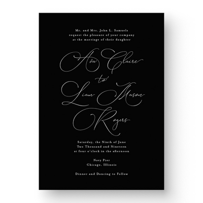 Ava White Ink Wedding Invitation