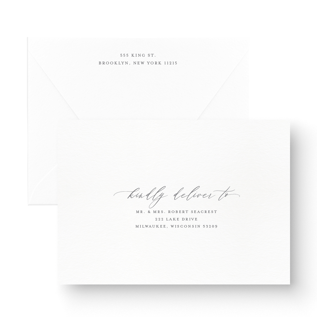 Elegant White Ink Wedding Save the Date with floral and clalligraphy