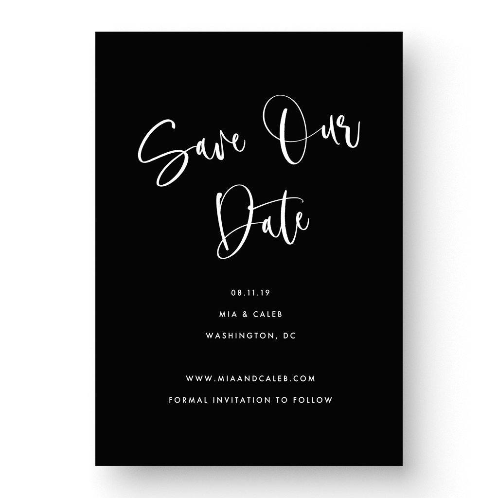 Black and White Hand Lettered Calligraphy Save the Date