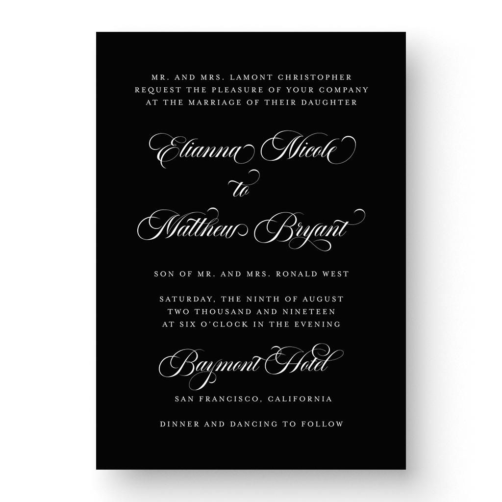 Elianna White Ink Wedding Invitation