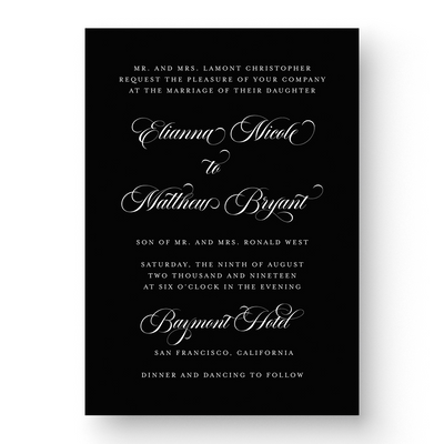 Classic White Ink Save the Date Card