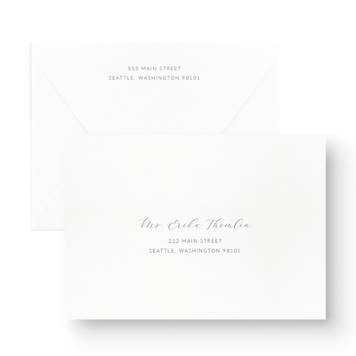 Elegant Foil Stamped Save the Date Card gold foil calligraphy on white printed envelopes
