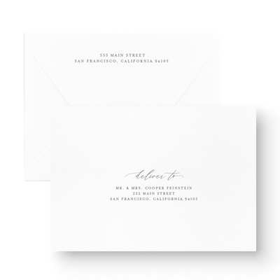 elegant black and white save the date card envelope printing