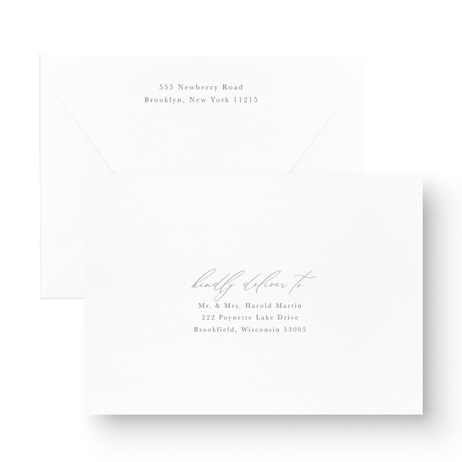 Tabitha White Ink Wedding Invitation