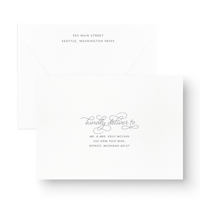 White Ink Save The Date with envelope