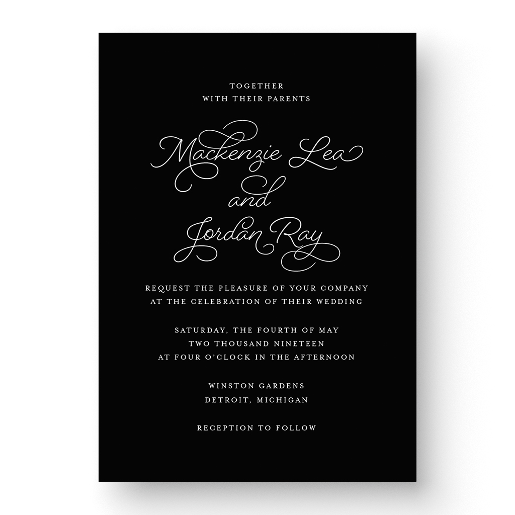 Mackenzie White Ink Wedding Invitation