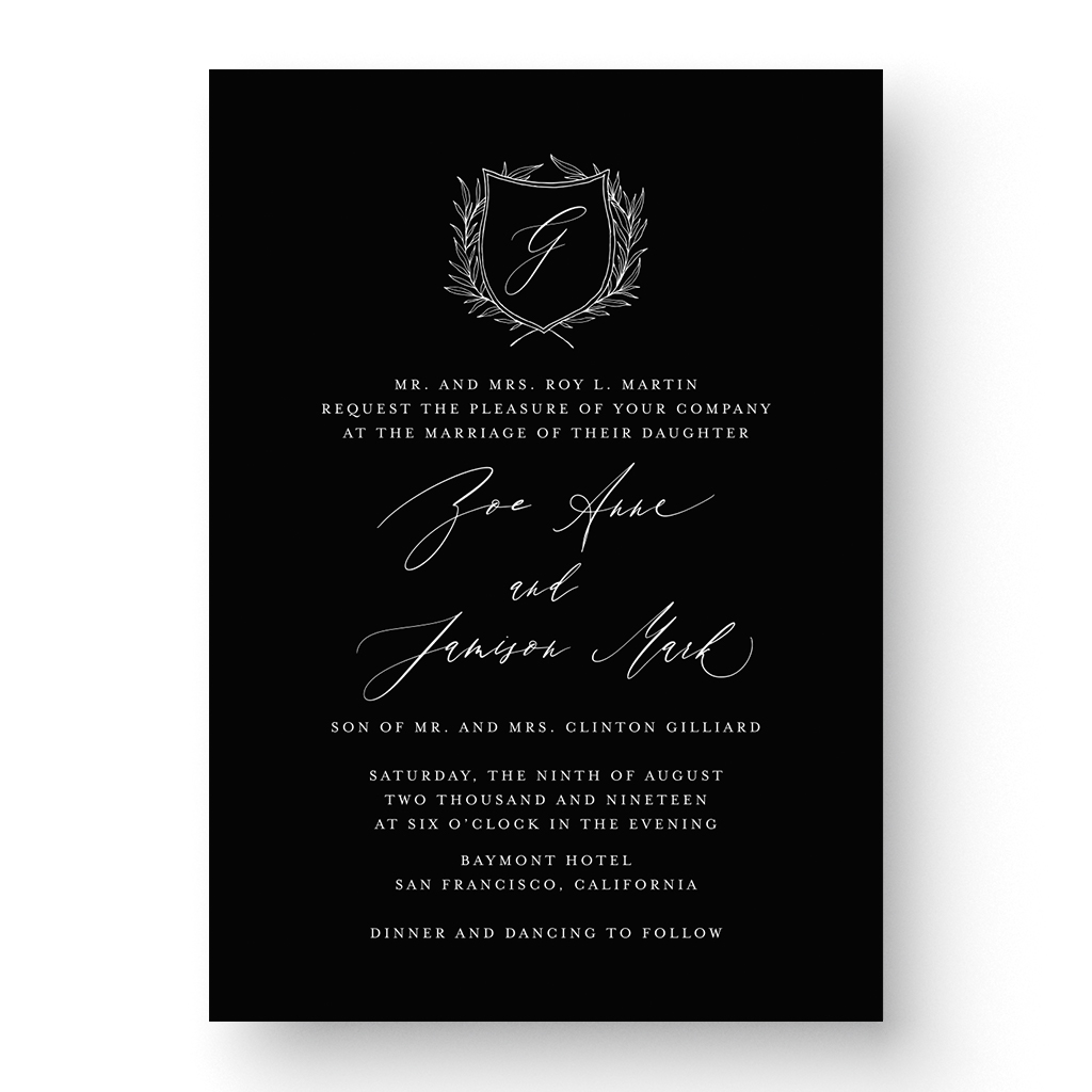 Zoe White Ink Wedding Invitation