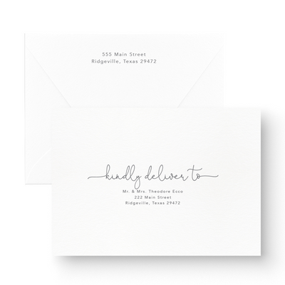 romantic save the date card envelopes with guest and return addressing in script font