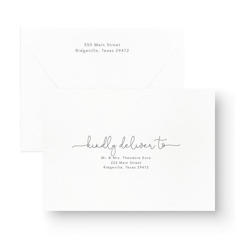 Romantic Letterpress Save the Date script on white card