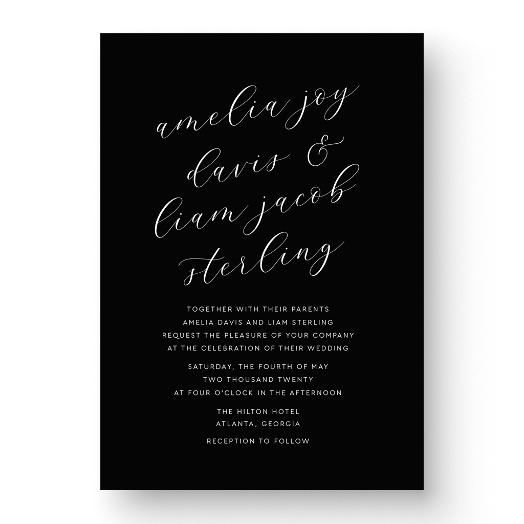 Amelia White Ink Wedding Invitation