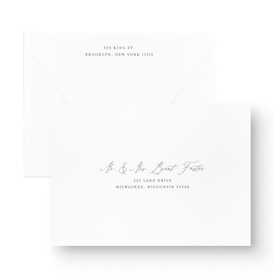 Claire White Ink Wedding Invitation