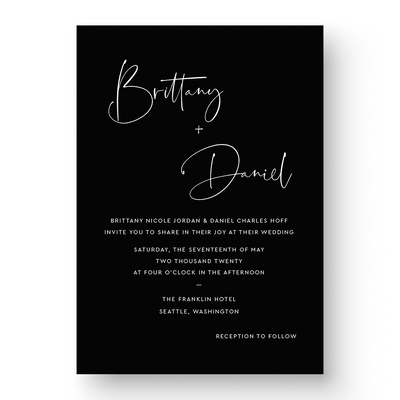 Brittany White Ink Wedding Invitation