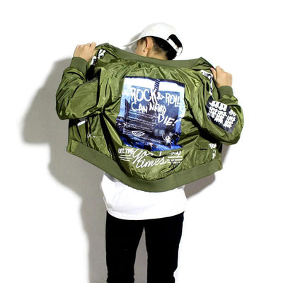 MA-1 Rock & Roll 80s Light Bomber Jacket-Victor Plazma