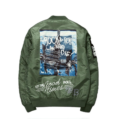 "Retro MA1 ""Rock & Roll 80s"" Light Bomber Jacket-Victor Plazma"