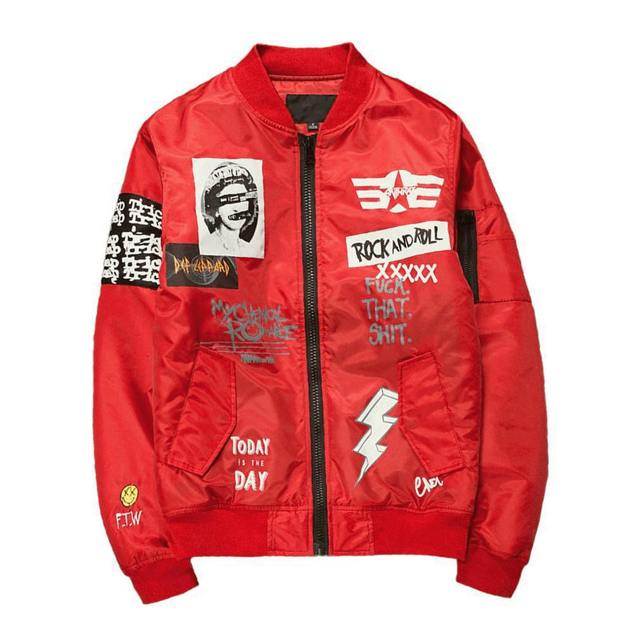 "Retro MA1 ""Rock & Roll 80s"" Light Bomber Jacket"